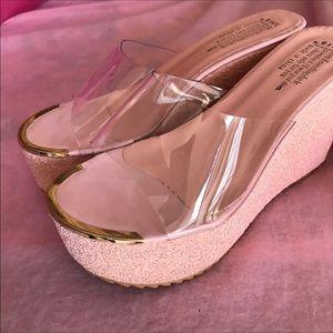 Pink barbie glitter platform wedge shoes heels NWT